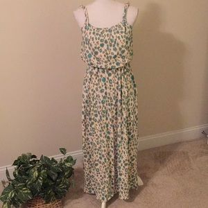 LOFT maxi dress in aqua and cream